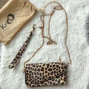 Handbags - Leopard print wristlet / wallet / phone holder